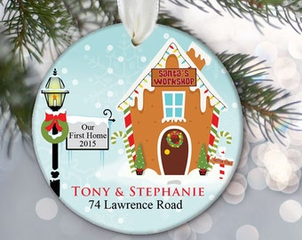 Our First Home Ornament Gingerbread house Christmas Ornament Personalized Housewarming Gift House Ornament Our New Home Gift Custom  OR668