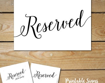 Printable Reserved Signs for Wedding // Wedding Reserved Table Sign // Reserved Wedding Sign, Black and White Wedding