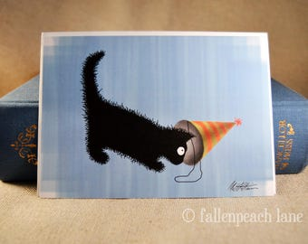 Black Cat Birthday Hat Greeting Card - Sammy the Cat Celebrates Illustration