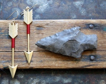 Large Arrow Earrings - wire wrapped brass arrows