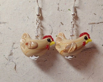 Shiny Finish Tan and Beige Streak Chicken Hen Rooster Glass Bead  Earrings with Swarovski and Silver  Now Laugh