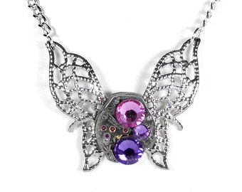 Steampunk Jewelry Necklace Vintage Watch Silver Filigree BUTTERFLY Lilac Pink Crystals Bridesmaids Gifts, Holiday Gift - Steampunk Boutique