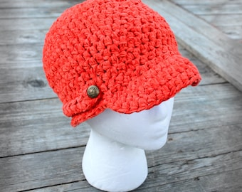 Crochet newsboy cap, handmade ladies hat, tangerine orange, cap with brim, soft and thick, fashion cloche, gift for her, decorative buttons