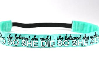 She Believed She Could So She Did Headband, Gifts for Runners, Workout Accessory, Inspirational Gift, Running Headband, Team Gifts, Run Day