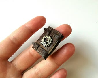 steampunk brooch, playscale, steampunk notebook, tiny journal, one sixth scale, steampunk pin, mini leather book, steampunk favor, tiny book