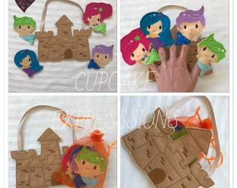 Mermaid Finger Puppet Set - Quiet Time Play Toy - Imaginative Play - Under the Sea Sand Castle Little Boy Mermaid Girl Pink