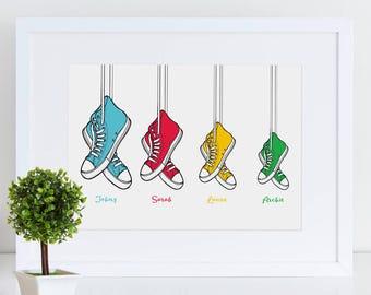 Baseball Print | Family Gift | Personalised Family Print | Baseball Boot Print | Personalised Boot Print | Personalised Family Print