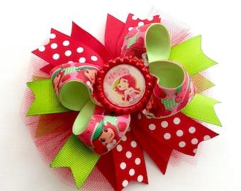 Strawberry Shortcake Inspired Hair Bow, Strawberry Shortcake Baby Girl Headband, Birthday Hair Bow !!