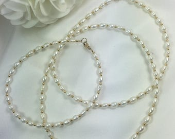 "White Freshwater Pearl Gold Necklace 22"" with matching Bracelet"