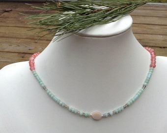 Ruby's Amazonite And Chery Quartz Necklace