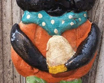 Folk art Whimsical Halloween Black Cat Ornament Ooak Ornie Vintage Nostagic Style One of a kind