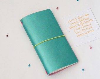 Mint & Baby Pink Reversible Midori Travellers Notebook Cover Leather Fauxdori Midori Accessories Midori Cover 2016 Planner Pastel