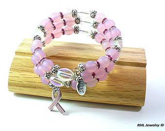 Memory Wire Bracelet, Pink Awareness Bracelet with No Clasp, Memory Wire with Pink Ribbon Charm, Breast Cancer Jewelry -  B2015-09