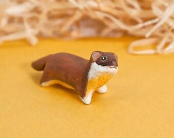 Yellow-bellied weasel. Polymer clay animal OOAK figurine, talisman, amulet. Native, folk, medicine. Ac
