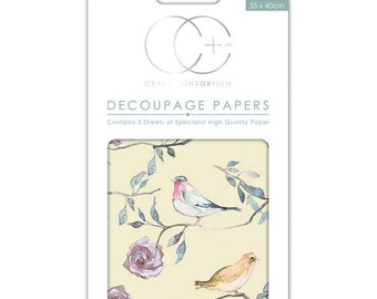 Paper patch (3 sheets) birds - yellow background CCDECP071