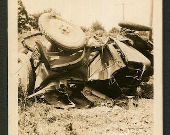 Vintage Snapshot Photo Mangled Wrecked Car 1930's, Original Found Photo, Vernacular Photography