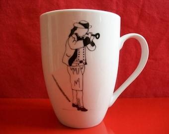 "Mug decorated with a ""Clarinetist Breton"", Limoges porcelain mug, hand painted mug, mug adult teen mug tea coffee mug, chocolate mug"