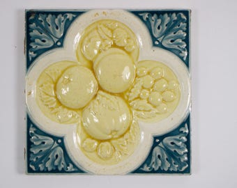 Antique 1880s Minton Arts & Crafts tile relief apple, orange