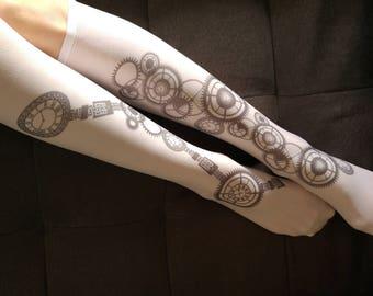 Steampunk Socks, Opaque Printed Knee High, Nylon Socks, Steampunk Art Stockings