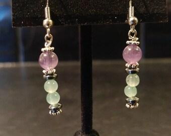 Amethyst & Green Aventurine Dangle Earrings // Silver-Plated and Hematite Spacers // Nickel-Free Hooks // Elegant and Dazzling