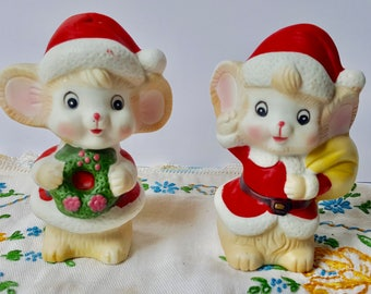 christmas mouse figurines vintage bisque porcelain christmas decorations christmas mice pair cute christmas