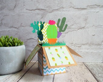 Cactus card ~ birthday card ~ cactus fans ~ plant lovers ~ gardener gift ~ unusual shaped card ~ unique card ~ different card ~ pop up