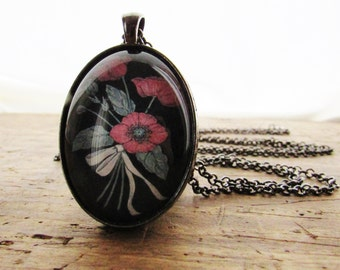 Red Poppy Floral Pendant - Flower Necklace - Floral Art - Gift for Mom - Original Art - Oval Glass Pendant - Gift for Woman - Jewelry Gift