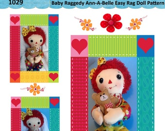 "Easy Cloth Rag Doll PDF Pattern Baby Raggedy Ann 15"" Rag Doll Pattern- Easy Beginner PDF Sewing Patterns by Peekaboo Porch"