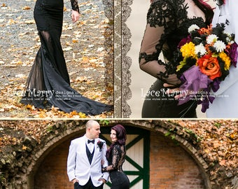 Black wedding dress etsy black wedding dress with sheer open back buttons and long sleeves in floor length with junglespirit Image collections