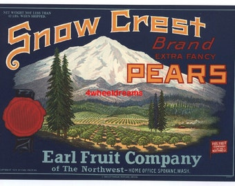 1920s Snow Crest Pears Spokane WA Snow Capped Mountains Crate Label Earl Fruit