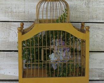 Vintage Wood Wire Birdcage - Hanging Birdcage Victorian Style - Shabby Cottage Chic - Bird Cage Wood Bird House