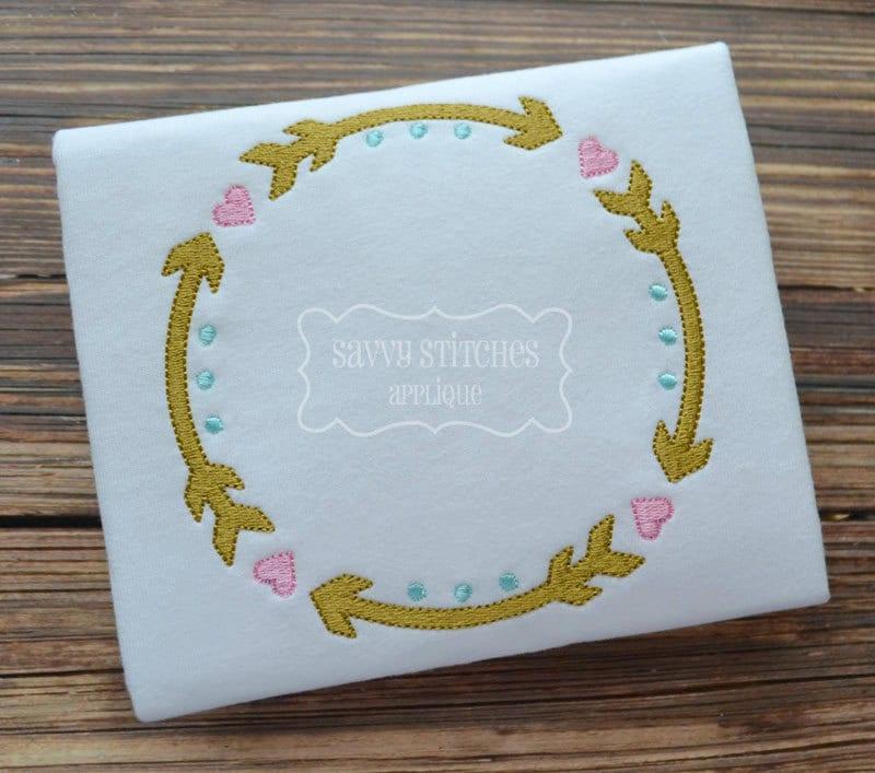 Arrow Circle Frame Machine Embroidery Design