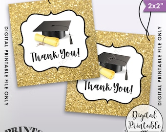 """Graduation Tags, Graduation Thank You Tags, Graduation Party Favors, Gold Glitter Thanks from the Grad 2x2"""" Tag, Instant Download Printable"""
