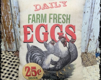 Handmade Primitive Farm Fresh Chicken Eggs Feedsack Style Pillow or Panel #18