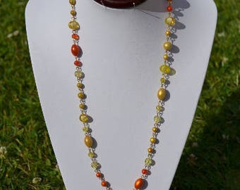 yellow and orange beaded necklace (long necklace)
