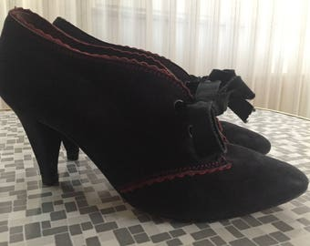 30s style 80s Ankle Booties black suede sz 35