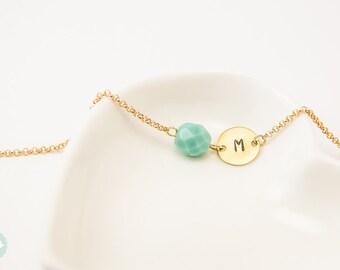 Initial bracelet, personalized bracelet, beaded bracelet, gold initial bracelet, Christmas bracelet, cute bracelet, Bridesmaid bracelet