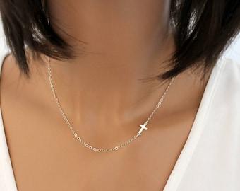 Sideways Cross Necklace, Dainty Gold Cross Necklace, Cross Necklace Women, Silver Cross Necklace, Sideways Necklace, Layering Necklace