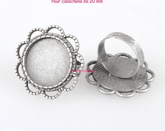 Set of 5 holders rings flowers cabochons 20 mm