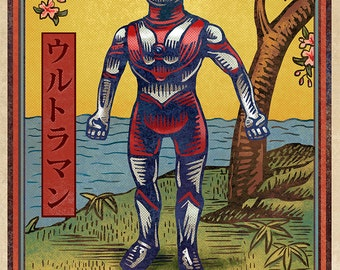 "Ultraman Matchbox Art- 5"" x 7"" matted signed print"