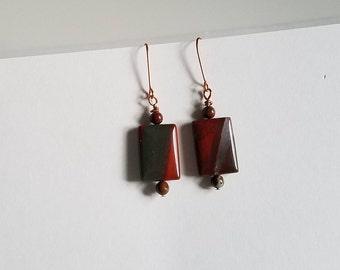 Red Jasper Earrings, Red and Copper Boho Earrings, Natural OOAK Earrings, Handmade Gifts for Her, Artisan Jewelry, Red Stone Earrings