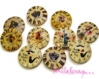 Set of 10 decorated wood pendulums scrapbooking embellishment buttons *.