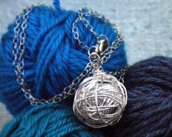 "Silver Yarn Necklace, Hand-wound wire wrapped ball of ""yarn"" large pendant on long silver chain"
