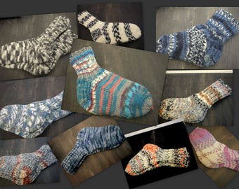 Side 3, warm socks, handmade, wool socks thin, unisex, Gr. 26-29/Foot Length 13-12inch, Miscellaneous
