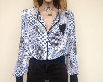 Floral & Paisley Print Blouse with Black Waistband - Size 12