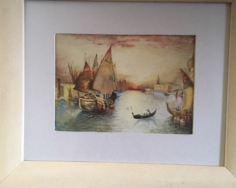 Antique 1912 Original Watercolour of the Grand Canal, Venice