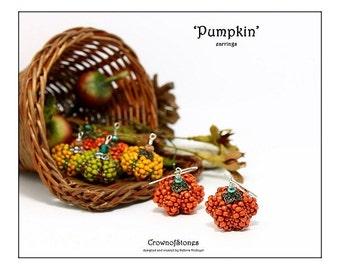 Bead pattern beaded earrings DIY Halloween Pumpkin earrings