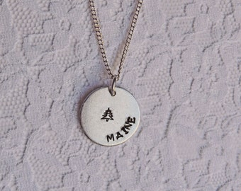 Celestial dainty charm necklaces eclipse sun moon star maine necklace hand stamped new england mainah maineiac vacation ocean mozeypictures Gallery