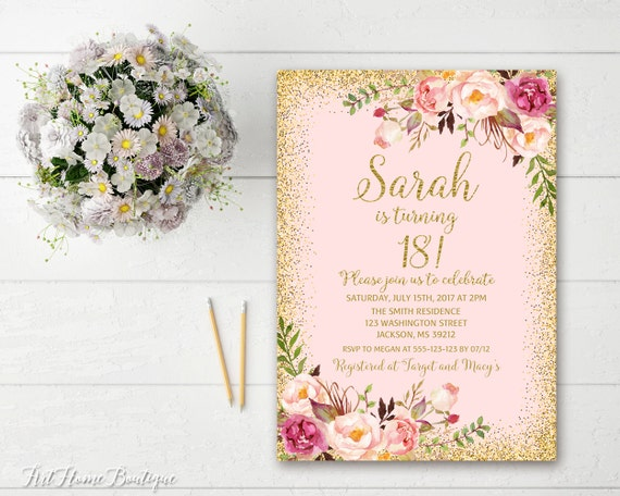18th Birthday Invitation Any Age Women Birthday Invitation