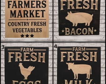 Ready To Ship - Farm Signs, Farmhouse Signs, Farmer's Market, Milk, Eggs, Bacon, RTS